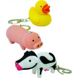 Porte clés animaux LED et sonore