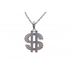 Collier dollar en métal argent
