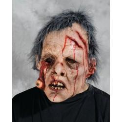 Masque de zombie avec oeil sanglant et cheveux