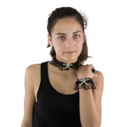"""Collier et bracelet """"tête de mort et os"""" avec dentelle"""