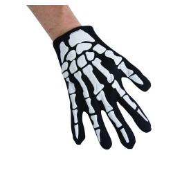 Gants noirs impression squelette